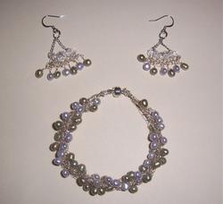 Hairpin Lace Earrings and Crochet Bracelet