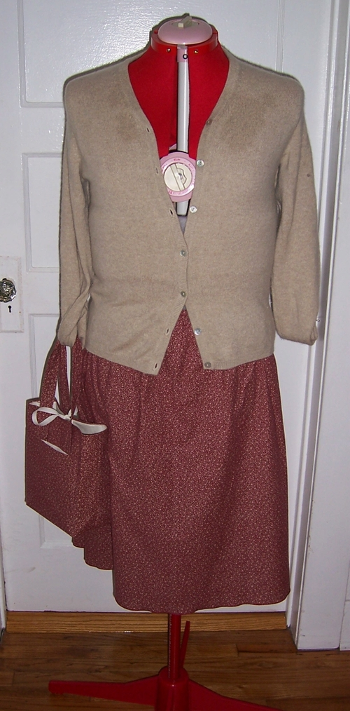 Rusty Red Floral Skirt and Matching Bag